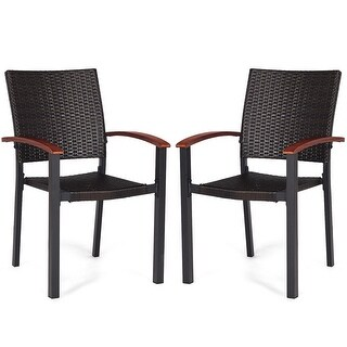 Costway 2PCS Patio Dining Chairs Armchair Stackable Rattan Wicker Outdoor Aluminum Frame - Brown