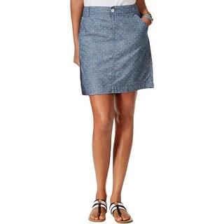 Tommy Hilfiger Womens Pencil Skirt Chambray Polka Dot