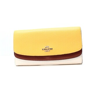 Coach NEW Yellow Canary Colorblock Flap Slim Envelope Wallet Clutch