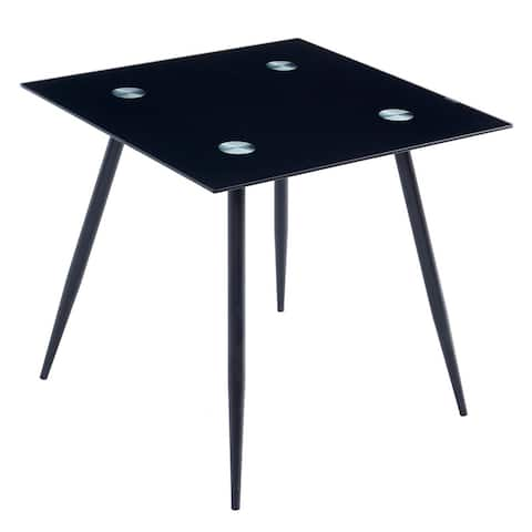 Home Dining Furniture Square Glass Dining Table Black