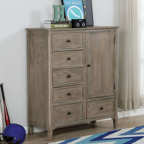 Furniture of America Lanister Transitional Warm Grey 6-drawer Armoire