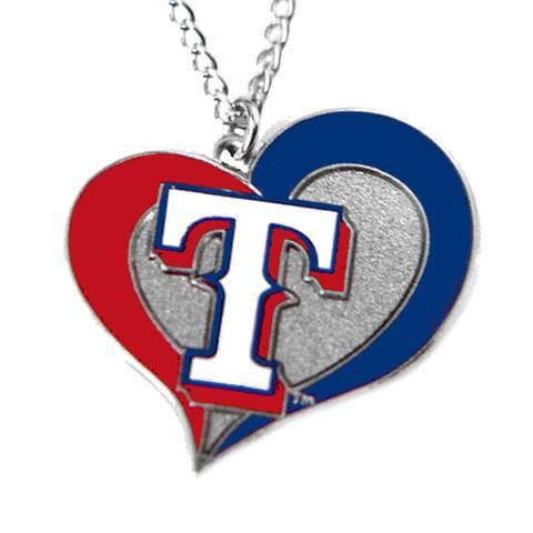 MLB Texas Rangers Sports Team Logo Swirl Heart Necklace