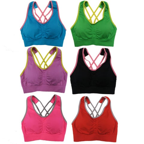 Women's 6 Pack Racerback Double Contrast Color Straps Athletic Sports Yoga Bras