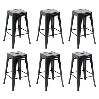 Belleze 26 Inch Metal Counter Vintage Bar Stools (Set Of 6), Black