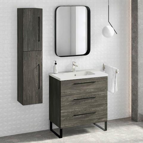 "32"" Bathroom Vanity Cabinet + Ceramic Sink Set Denver W 32 X H 35 X D 18 in Wf446 Charred Oak"