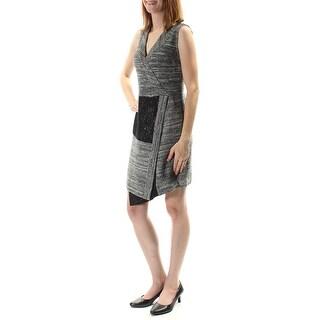 RACHEL ROY $139 Womens New 1122 Gray Sleeveless V Neck Sheath Dress 12 B+B