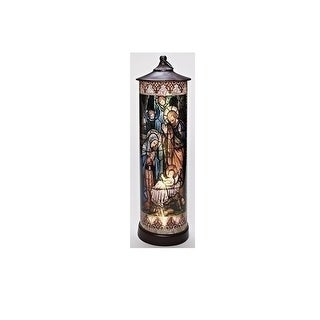 "Link to 24"" Bronze LED Lighted Stained Holy Family Cylinder Lantern Similar Items in Decorative Accessories"