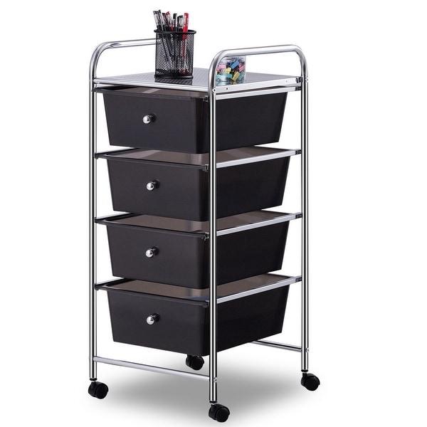Costway 4 Drawers Metal Rolling Storage Cart Scrapbook Supply U0026amp; Paper  Home Office   As