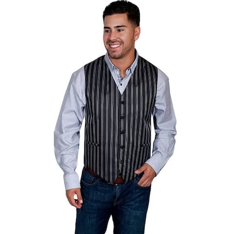Scully Western Vest Mens Manly Quality Double Pinstripe Button - Black