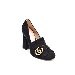 Gucci Womens Black Marmont Fringed Suede Pumps 36 / 6