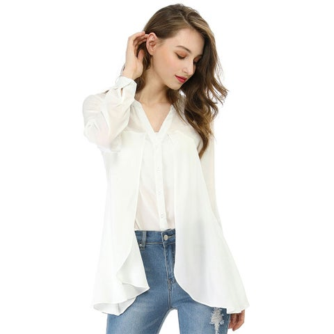 Unique Bargains Women V Neck Layered Chiffon Swing Top Blouse w Tube Top