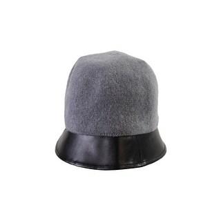 August Hat Grey Pleather-Trim Cloche OS