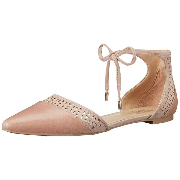 156561b9816 Franco Sarto Womens shirley Leather Pointed Toe Ankle Strap Slide Flats