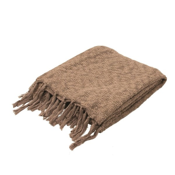 """Sandy Taupe Gray Cotton Fringed Throw Blanket 50"""" x 60"""""""