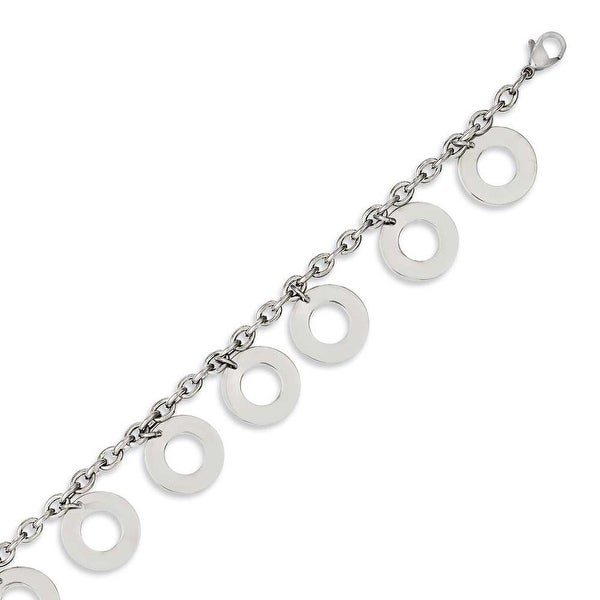 Chisel Stainless Steel Polished Dangle Circles 7.5in Bracelet