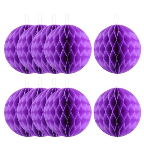 "Party Paper DIY Craft Hanging Decor Honeycomb Ball Lantern 8""es 10pcs - Purple"