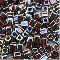 Miyuki 4mm Glass Cube Beads 'Transparent Dark Amber AB' 257 10 Grams - Thumbnail 0