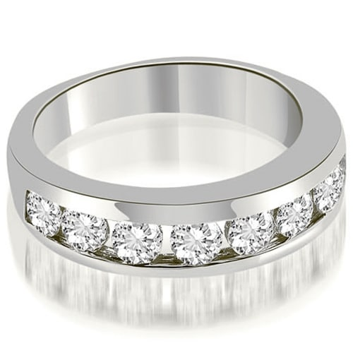 1.35 cttw. 14K White Gold Classic Channel Round Cut Diamond Wedding Band