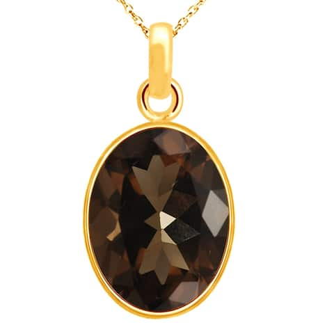 Smoky Quartz Sterling Silver Oval Solitaire Pendant by Orchid Jewelry