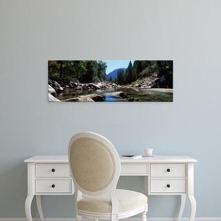 Easy Art Prints Panoramic Image 'Mountain Behind Pine Trees, TenayCreek, Yosemite National Park, California' Canvas Art