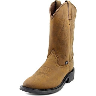 Justin Crazy Cow Men 2E Round Toe Leather Brown Western Boot