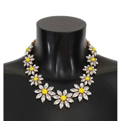Dolce & Gabbana Yellow Sunflower Crystal Statement Necklace