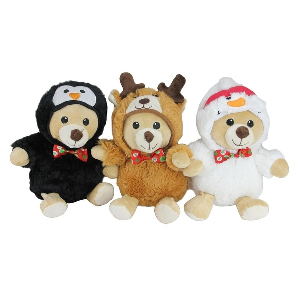 "Set of 3 Plush Teddy Bear Stuffed Animal Figures in Christmas Costumes 8"" - brown"