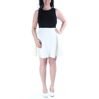 Womens Black, Ivory Chevron Sleeveless Knee Length Fit + Flare Dress Size: 13