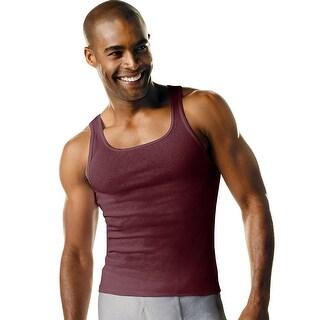 Hanes Men's TAGLESS Ribbed A-Shirt 4-Pack