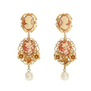 Dolce & Gabbana Gold CAMMEO Resin Floral Dangling Clip On Earrings