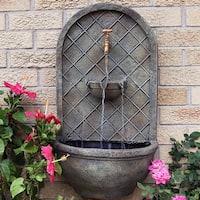 Sunnydaze Messina Solar Wall Water Fountain - Florentine Stone Finish - 26-Inch
