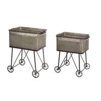 "Set of 2 Coin Gray Vintage Style Distressed Metal Wash Tub Planters 24""-28"" - Silver"