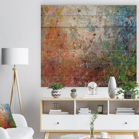 Designart 'Board Stained Abstract Art' Abstract Print on Natural Pine Wood - Orange
