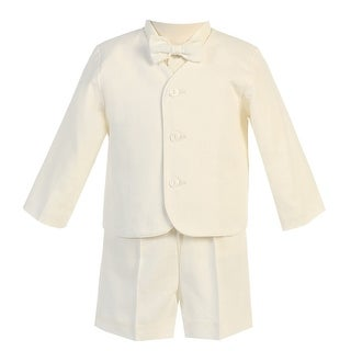 Little Boys Ivory Eton Short Formal Ring Bearer Easter Suit 2T-5