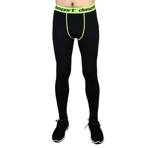Men Sports Compression Tights Running Long Pants Fluorescence Green W34