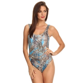 Women's Blue Camo Bikini 1-Piece Swimsuit True Timber Beach Swimwear