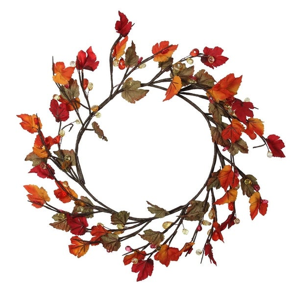 "15"" Artificial Fall Foliage Grape Leaves, Twigs and Beads Autumn Wreath - Unlit - brown"