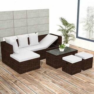 vidaXL 4 Piece Garden Lounge Set with Cushions Poly Rattan Brown