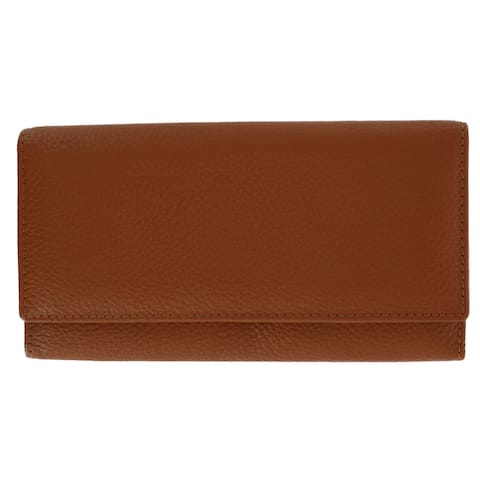 CTM® Women's Leather RFID Slim Wallet with Snap Closure - one size