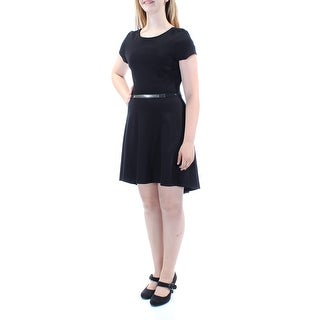 Womens Black Sleeveless Below The Knee Fit + Flare Dress Size: 11
