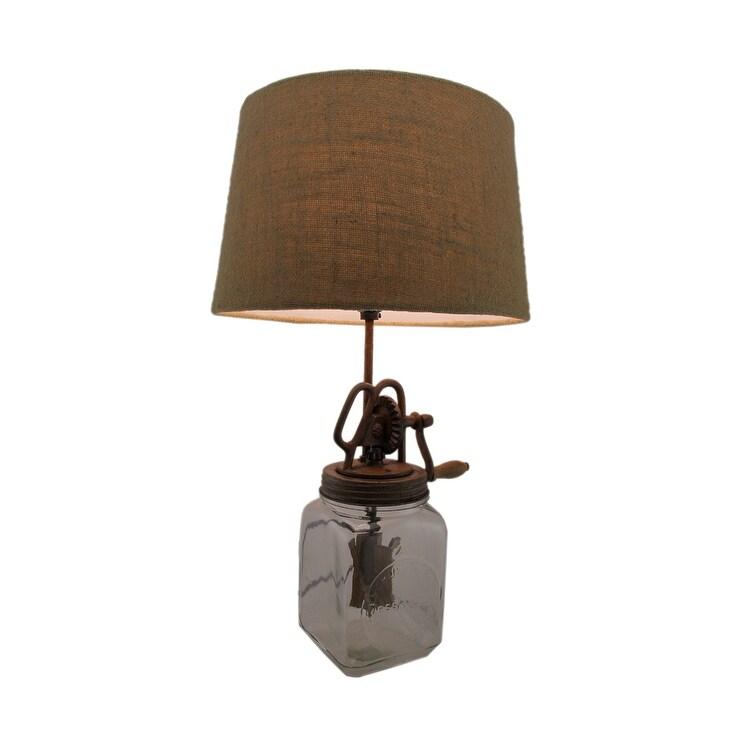 Er Churn Gl And Metal Table Lamp