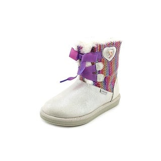 Stride Rite Disney Frozen Cozy Boot Youth Round Toe Canvas Gray Winter Boot
