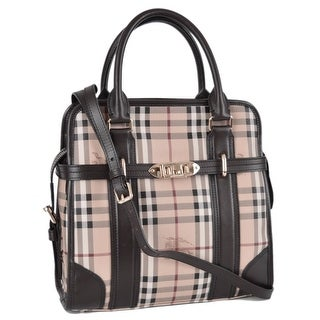 Burberry Minford Portrait Haymarket Nova Check Purse Handbag Satchel - Beige Check/Camel Trim
