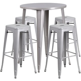 Brimmes 5pcs Round 30'' Silver Metal Table w/4 Square Seat Backless Barstool