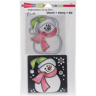 """Stampendous Stencil, Die & Stamp Set 5.25""""X9""""-Winter Snowman"""