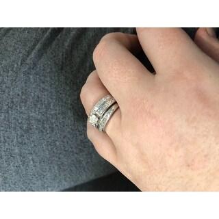 2.05 cttw. 14K White Gold Channel Set Princess Cut Diamond Bridal Set - White H-I