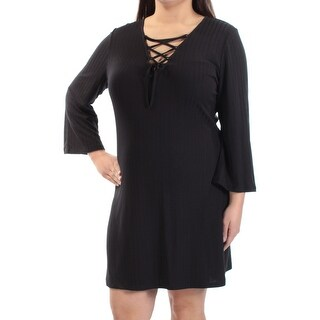 Womens Black Long Sleeve Above The Knee Sheath Cocktail Dress Size: XL
