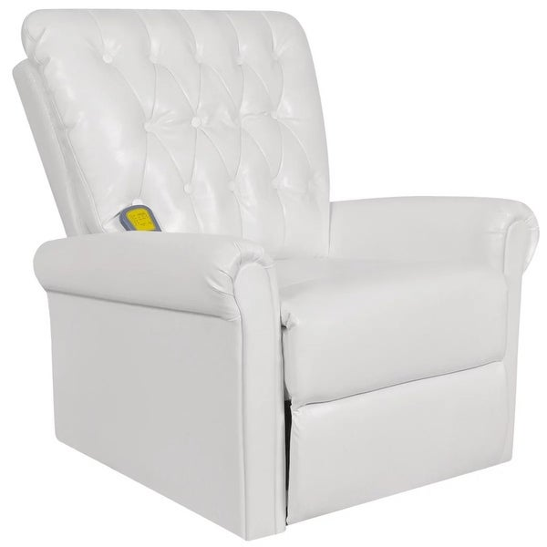 vidaXL White Electric Artificial Leather Recliner Massage Chair