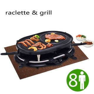 Costway Electric Raclette Grill Oval 1200W 8 Person Party Cooktop Non Stick Black