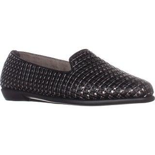 Aerosoles Betunia Embroidered Slip-On Loafers, Black Metallic Combo